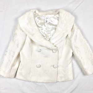 White House Black Market Fur Collar Brocade Blazer